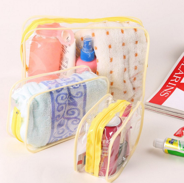 eTya Travel PVC Cosmetic Bags Women Transparent Clear Zipper Makeup Bags Organizer Bath Wash Make Up Tote Handbags Case