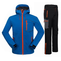 2017 Winter Waterproof Outdoor Climbing Mountain Hiking Jacket Pants Fleece Softshell Camping Hunting Sports Suit For