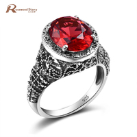 New Turkish Finger Rings For Party Women Lab Ruby Stone Crystal Silver Vintage Ring Handmade Anel Jewelry anillos de plata 925