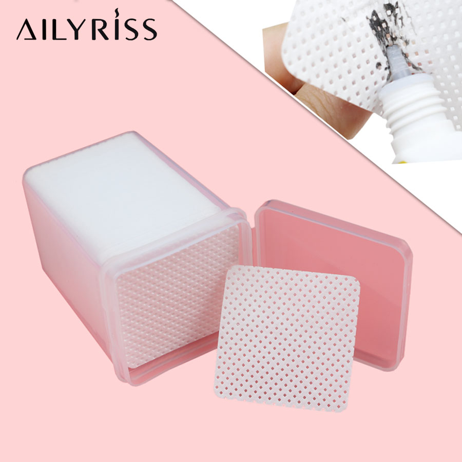Lint-Free Paper Cotton 180/200/540pcs Eyelash Extension Glue Remove Cotton Pad Glue Bottle Mouth Wipes Glue Cleaner Pad