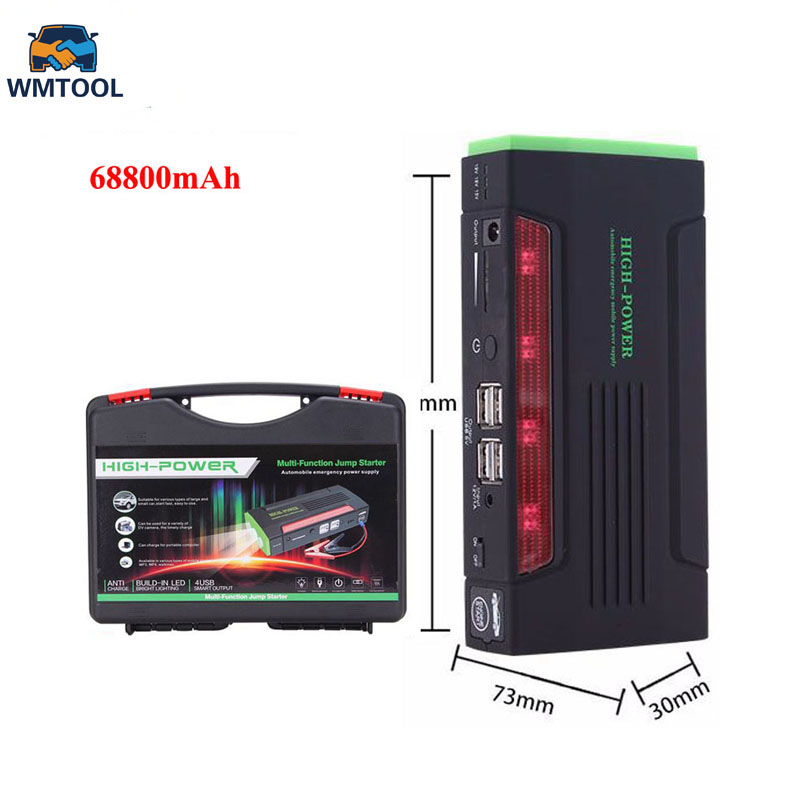 2018 Super 68800mAh Car Jump Starter Auto Engine EPS Emergency Start Battery Source Laptop Portable Charger Mobile Power Bank цена
