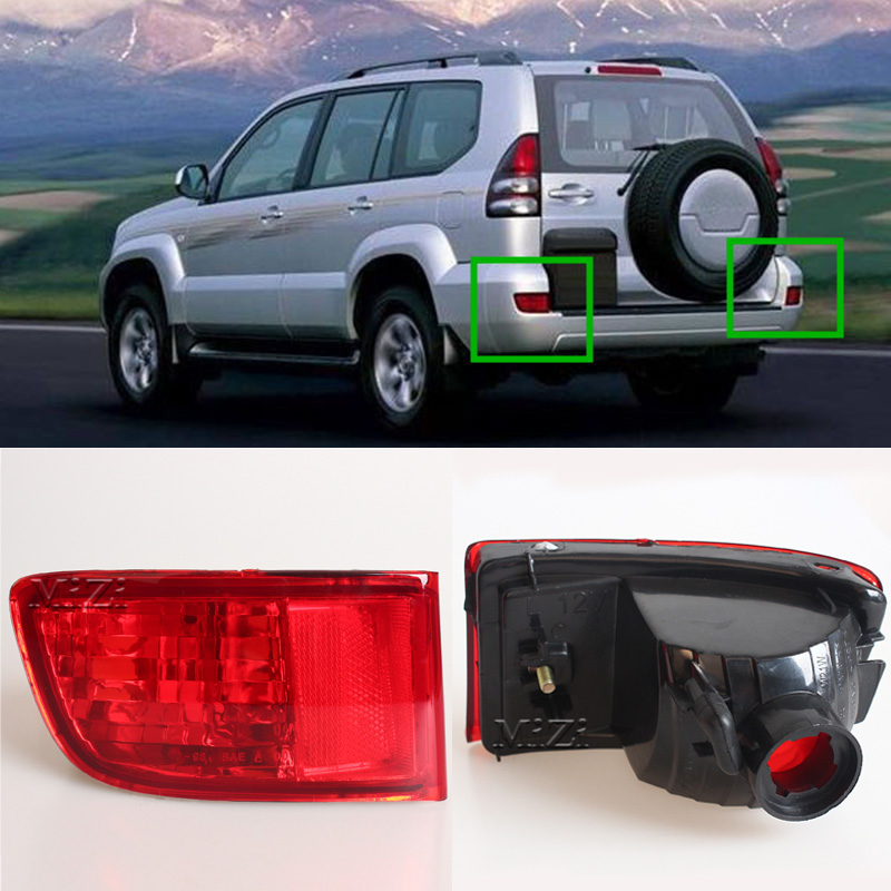 MZORANGE 1/2 Piece Red Rear Bumper Fog Light For Toyota Land Cruiser Prado 120 series GRJ120 TRJ120 FJ120 2002-2009 Without Bulb lexus gx470 toyota land cruiser prado 120 модели 2002 2009 года выпуска руководство по ремонту и техническому обслуживанию