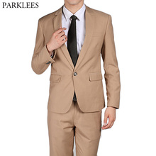 Модные цвета хаки Для мужчин Костюмы Блейзер 2 шт. костюм(куртка+ брюки) slim Fit Свадебные Жених смокинги дружки костюм Бизнес костюм Homme