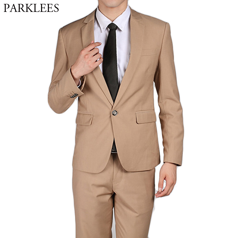 Fashion Khaki Men Suits Blazer 2 Pieces Suit (Jacket+Pants) Slim Fit Wedding Groom Tuxedos Groomsman Suit Business Costume Homme