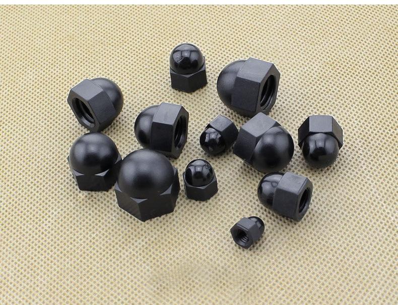 500 個黒 DIN1587 ROHS 品質ドングリナット M10 プラスチックナイロンキャップナットどんぐりドーム六角ナット飾るナット黒 M10  グループ上の 家のリフォーム からの ナッツ類 の中 1