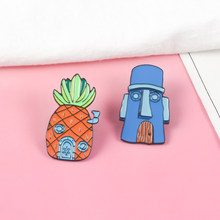 Cartoon BoB Pin ! Masks House Pineapple House Squidward Sponge Baby Hard Enamel Pins Backpack Denim Badge For Gift(China)