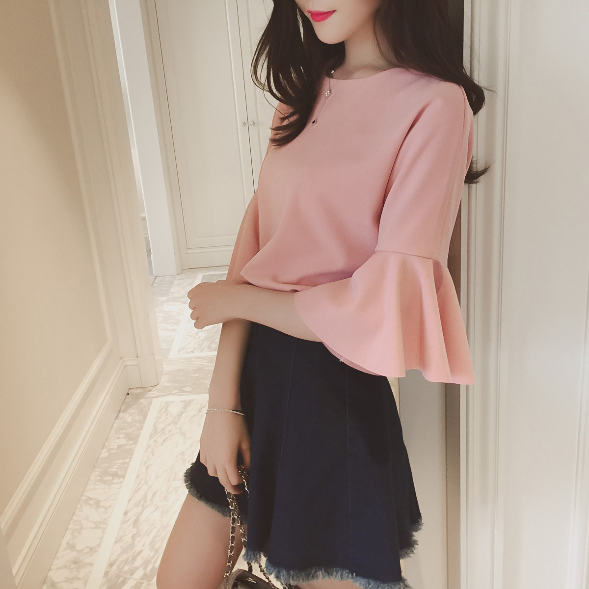 New Summer Casual Women Shirts Flare Butterfly A Half Sleeve Short Paragraph Blouse Shirt White Pink 8119