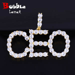 Bubble letter Necklaces Pendant Men's Jewelry Gold Silver
