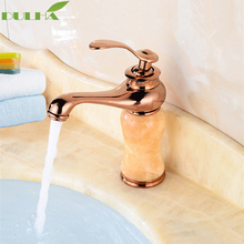 Luxury Rose Golden Bathroom Basin Sink Faucet Torneira Jade Body With Marble Mixer Taps Full Copper Top-grade Lavatory Faucets basin faucets marble with jade bathroom taps 3 hole classic home decoration lavatory crane hot and cold mixer faucet ay 13015