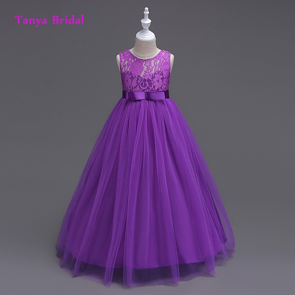 Scoop tulle flower girl dress purple blue white champagne a line scoop tulle flower girl dress purple blue white champagne a line floor length with sash izmirmasajfo