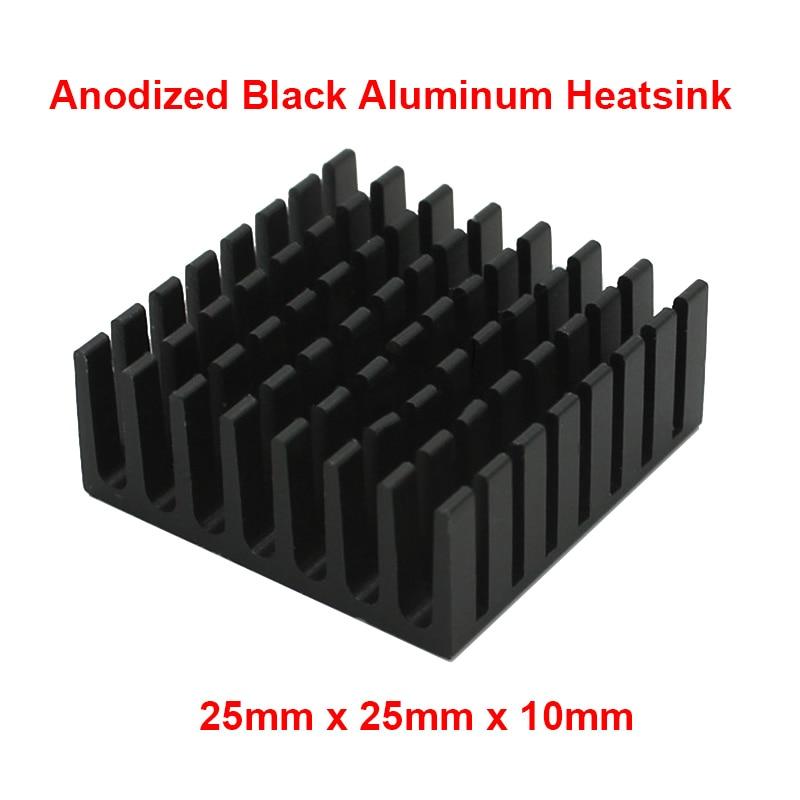 5pcs/lot Black Aluminum Fin Heatsink 25x25x10mm Electronic Cooling Radiator Heat sink for CPU,GPU Graphics Video Card dissipator