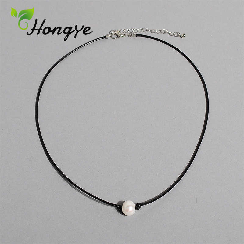 Hongye Cheap Natural Pearl Necklaces Designer Brand Women Rope Chain Best Collar Accessories Female Pearl Pendant Necklace