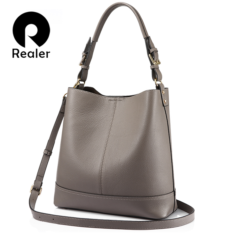 REALER bucket bag women handbags shoulder crossbody bags female genuine leather totes ladies messenger large top-handle bags NEW bucket bags women genuine leather handbags female new wave wild messenger bag casual simple fashion leather shoulder bags