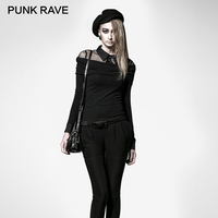 PUNK RAVE Punk College Wind 100 Silk T Shirt Women Classic Black Sexy Notched Off Shoulder