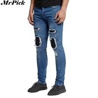 Yeni Erkekler Konik Deri Diz Biker Jeans Moda Rahat Tasarımcı Marka Streç Skinny Jeans