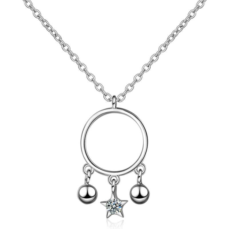 TJP Cute Bell Crystal Star Girl Choker Necklace Jewelry Charm 925 Sterling Silver Necklace For Women Party Accessories Lady Gift