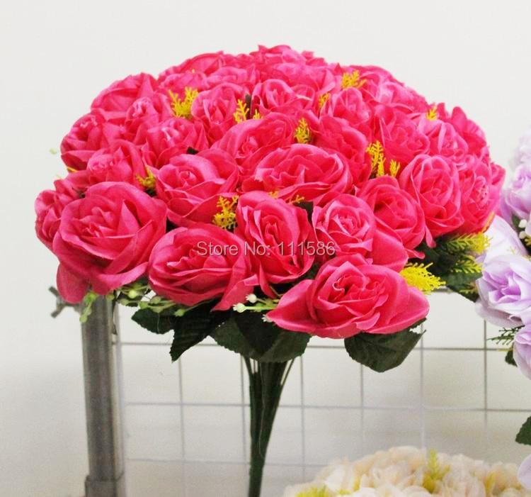 무료 배송 36 인공 장미 실크 꽃 꽃다발 웨딩 테이블 중앙 장식 꽃 장식 decoratio 꽃