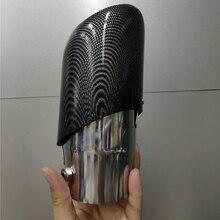 1pc 유니버설 카 탄소 섬유 스트라이프 배기 파이프 머플러 꼬리 목구멍 스테인레스 스틸 66mm 입구