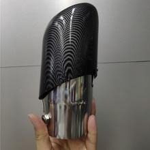 Silenciador de tubo de escape a rayas de fibra de carbono para coche, Universal, garganta trasera, entrada de acero inoxidable de 66mm, 1 ud.