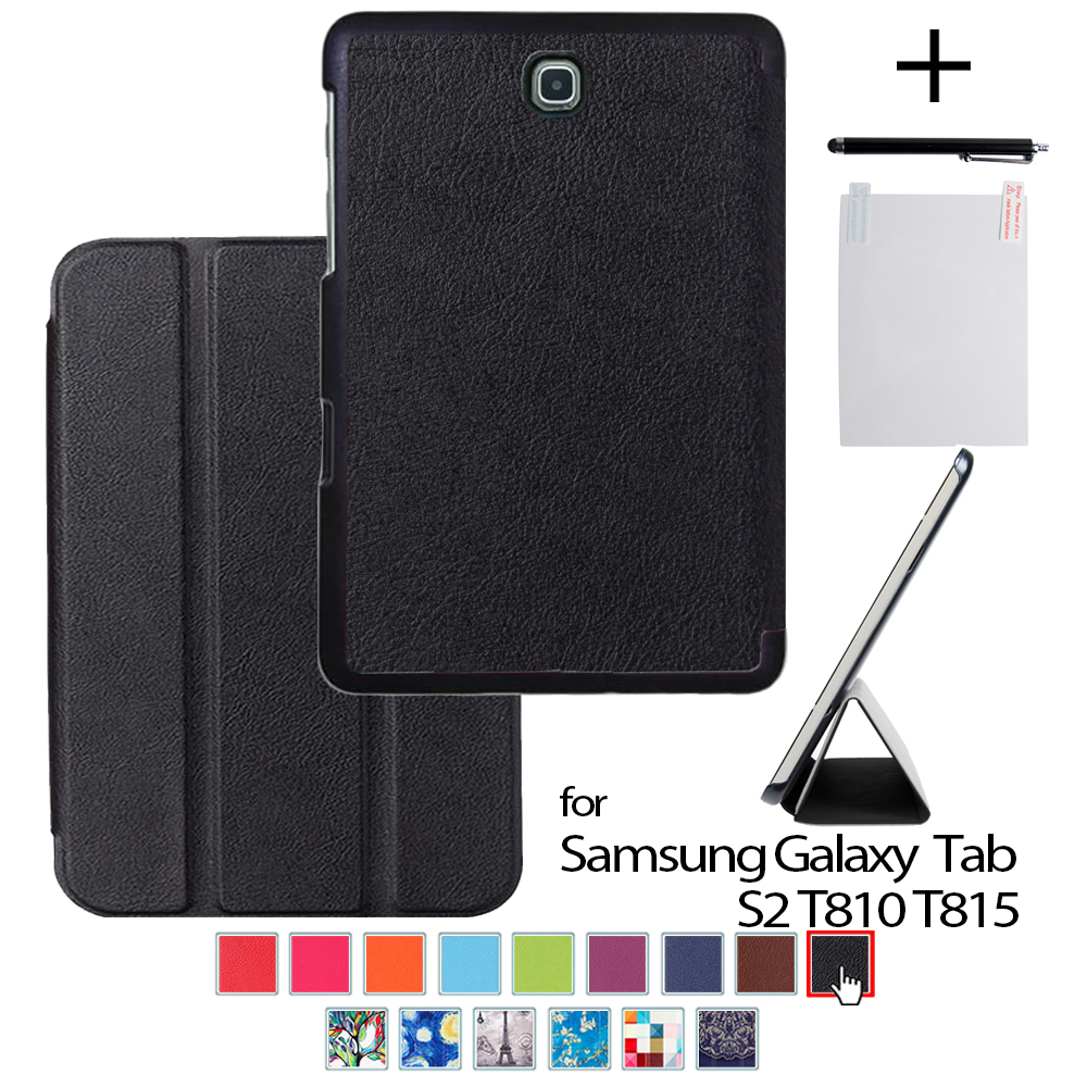 For galaxy Tab S2 9.7 Protective PU Leather cover case For samsung galaxy Tab S2 9.7 SM-T810 T815 9.7 tablet +stylus+film seamless protective pu leather back case for samsung galaxy s4 i9500 blue black