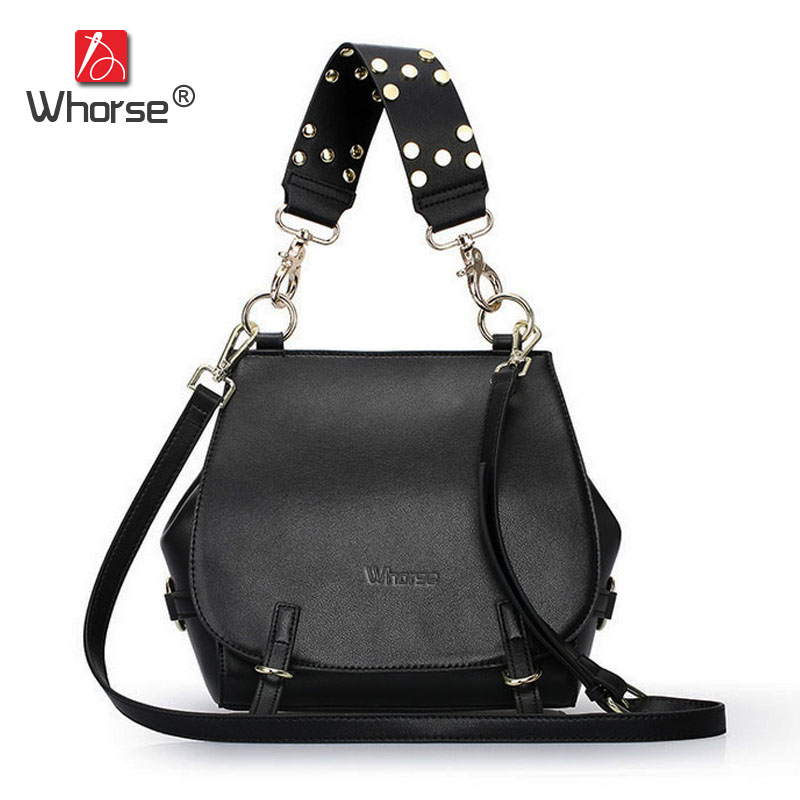 [WHORSE] Luxury Fashion Chain Women Shoulder Bags Famous Brand Genuine Leather Tote Handbag Messenger Bag With Rivet Belt W08150 [whorse] brand luxury fashion designer genuine leather bucket bag women real cowhide handbag messenger bags casual tote w07190