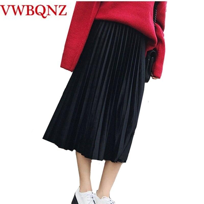 2018 Spring Summer Women's Long Skirts Fashion Brand A-Line Waist elastic waist Pleated Skirt plus size Casual Black Skirt 6XL alex evenings pleated side skirt black lp