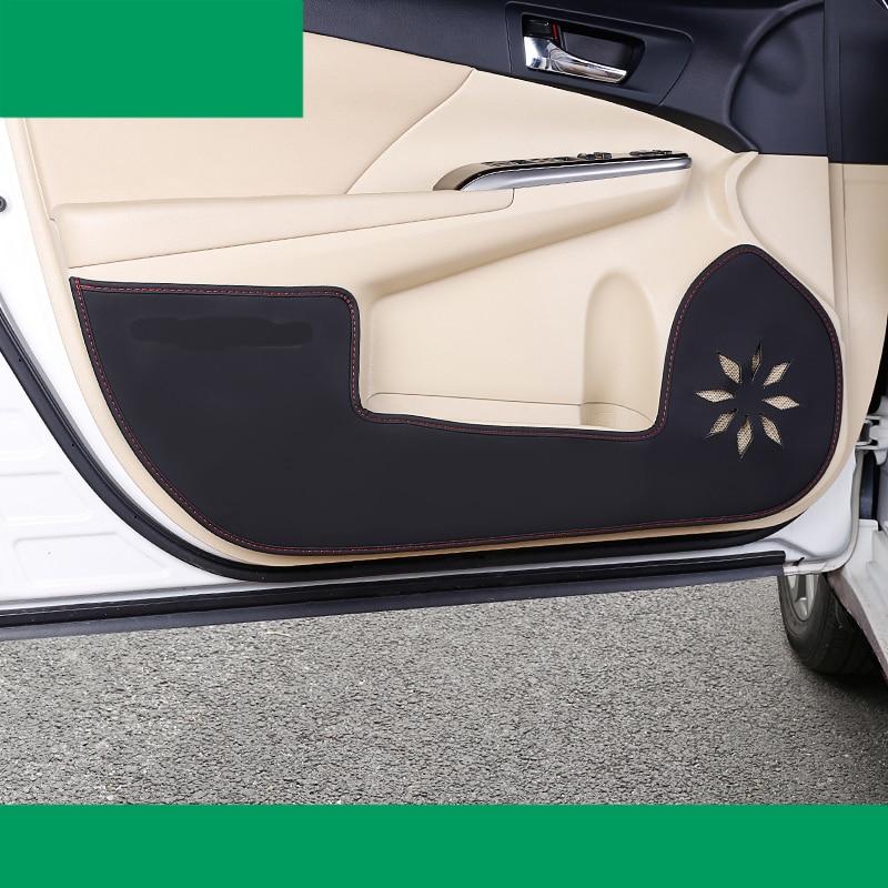 lsrtw2017 fiber leather car door anti-kick mat for toyota camry 2012 2013 2014 2015 2016 2017 xv50 Daihatsu Altis