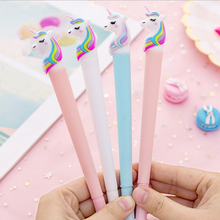 3pcs/lot Kawaii Unicorn silicone gel pen creative shape neutral students office with 0.38mm black stationery