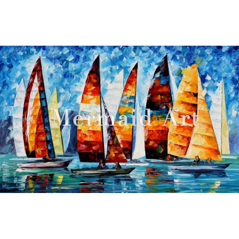 Hand Painted Landscape Abstract Sail Regatta Palette font b Knife b font Modern Oil Painting Canvas