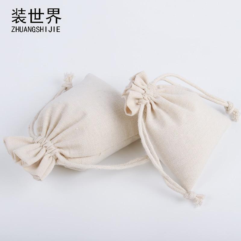 5pcs/Lot 16*20cm Wholesale Natural Resuable Jute Linen Drawstring Pouch Packaging Gift Bag Logo Printed Bag