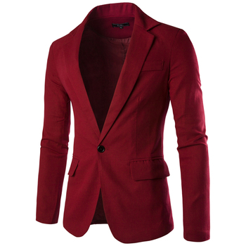 Loldeal Men's Blazer Slim Fit Long Sleeve Single Button Solid Color Suit Men's Rotwein Spring/Autumn Casual Blazer Masculino