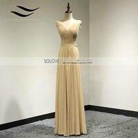 Best Selling A Line Long Evening Dress Chiffon Pleat V Neck Prom Dresses Long Elegant Formal Gown Wedding Party SL E368