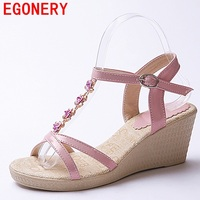 egonery sandals woman casual shoes high heels 2017 summer new come platform wedges good quality wedding sandals flower shoes