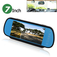 7 Inch TFT LCD Widescreen 2 Video Input Touch Button Auto Car Parking Rearview Reverse Mirror Monitor with Remote Control