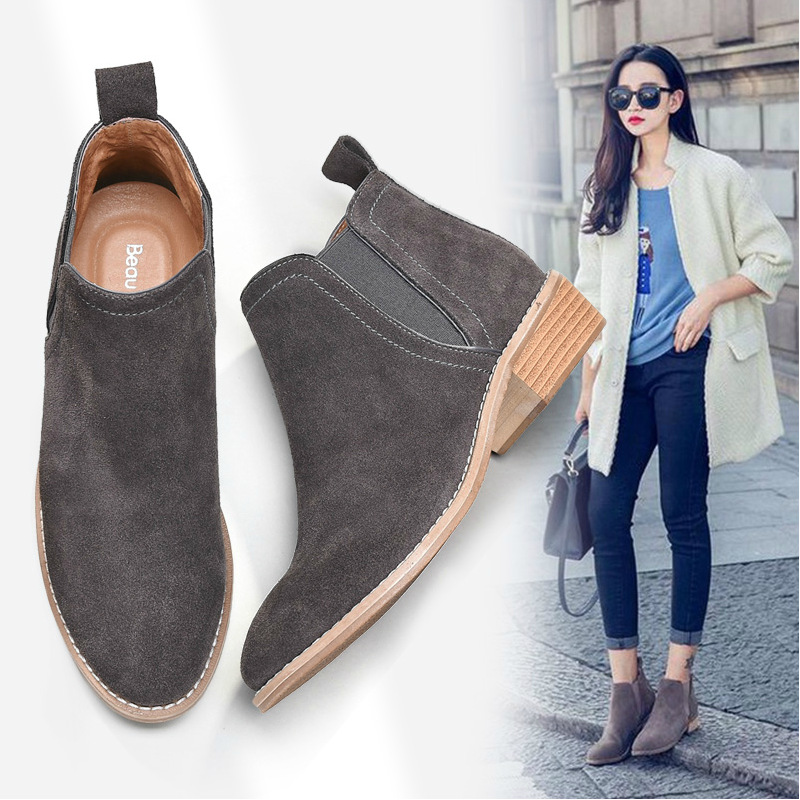 ФОТО 2016 new autumn Women genuine leather boots nubuck leather Martin boots Chelsea boots