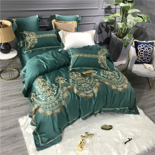 Gold Luxury Embroidery Green White Purple Blue 80S Egyptian Cotton European Palace Bedding Set Duvet Cover Bed sheet Pillowcase