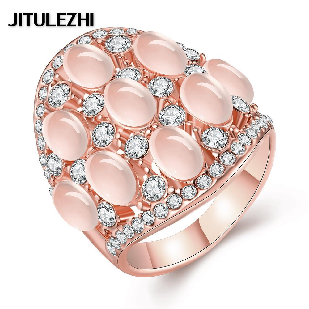 Gold color rings for men women CZ bridal rings Punk anelli donna ...