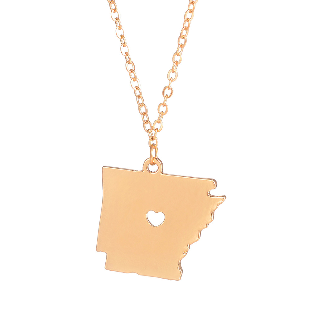 Wholesale 30pcs <font><b>Arkansas</b></font> Necklace Fashion Jewelry <font><b>Arkansas</b></font> State Heart Pendant Long Chain for Women Men Gift image