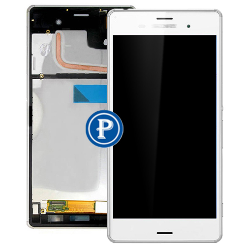 2 Sim Version For Sony Xperia Z3 Dual D6633 D6683 Complete lcd with touchpad and frame front housing Assy in White OEM