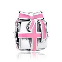 100 925 Sterling Silver Delicate Present Box Charms Pink Ribbon Bow Fit Pandora Bracelet Beads Woman