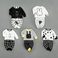 High Waist Pants + T shirt Baby Boy Clothes Set Baby Girl Clothing Set Infant Clothing Toddler Outfit 2016 New Fashion Cotton