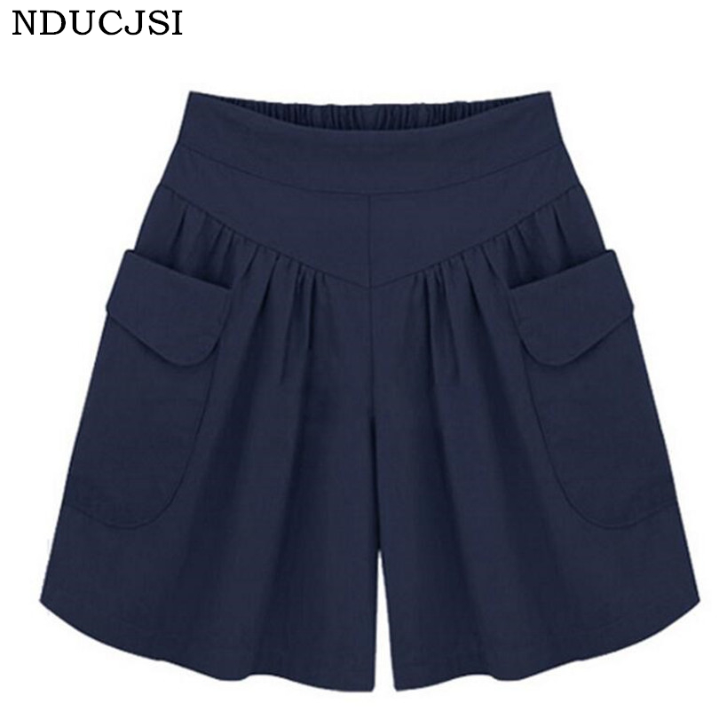 NDUCJSI Casual   Shorts   Women Summer Elastic Waist   Short   Pants Loose Black Navy Soft Cotton Femme Street 4XL Plus Size   Shorts   5XL