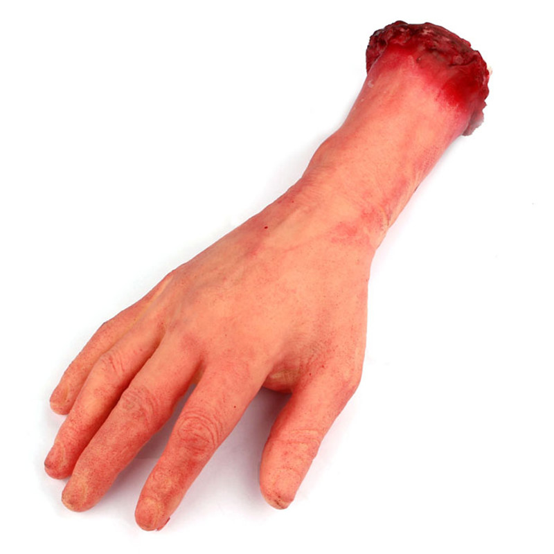 2018 Scary Halloween Arm Decoration Props Bloody Realistic Fake Human Arm Hand Bloody Dead Body Parts Trick  2sw0809