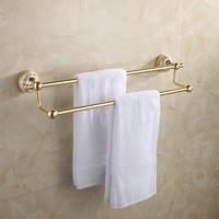 Space Aluminum Chamgapne Porcelain Double Towel Bar Europe Style Gold Bathroom Dual Towel Rack Bathroom Towel
