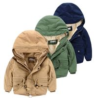 Girls Boys Jackets Winter Child Coats Toddler Thick Fleece Warm Solid Hooded Coat for Kids Children's Clothes Outerwear