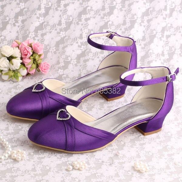 (20 Colors)Custom Handmade Chunky Low Heel Wedding Shoes Sandals Purple Satin