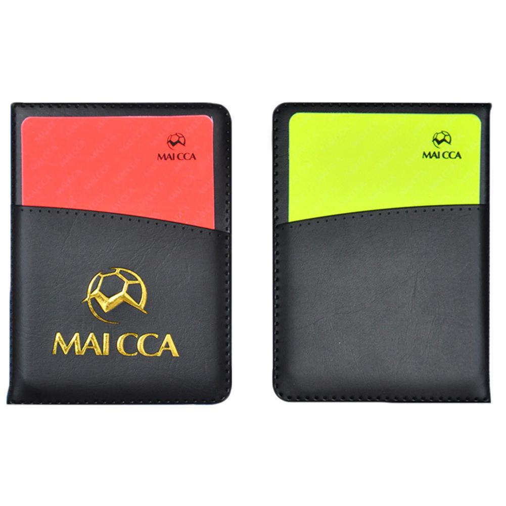 High Quality PU Cover Football Soccer Referee Red Yellow Card Record Referee Tool With Leather Case Pen For Sport Match