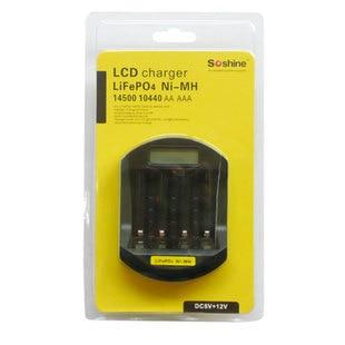 SOSHINE LCD  NI-MH   LiFePo  AA 14500 AAA 10440 Smart Battery Charger  LiFePo 3.2v  1.2v (2batteries+1charger+2connecters)