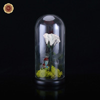 WR Immortal Flowers Glass Cover Fresh Preserved Rose Colorful Roses For Girl Valentine S Day Wedding