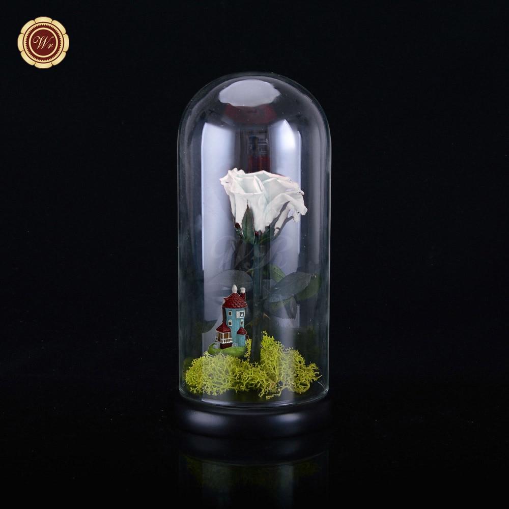 wr cubierta de cristal fresco conservado rosa flor inmortal rosas de colores para la muchacha regalos
